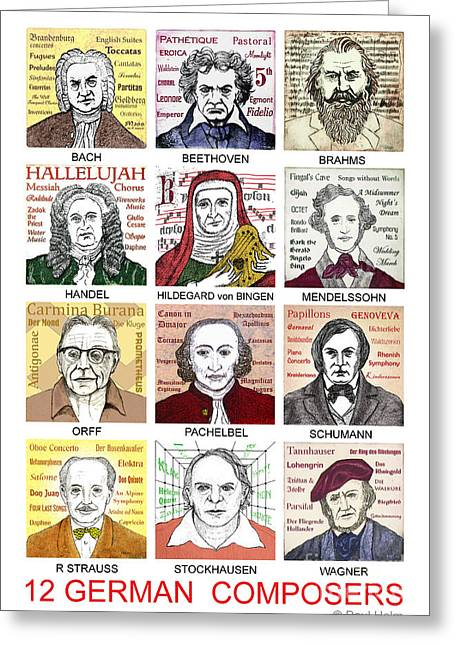 Brahms Greeting Cards - German composers Greeting Card by Paul Helm