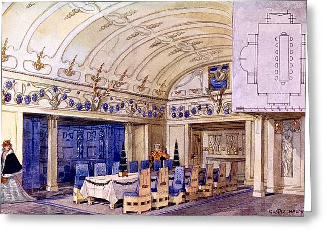 German Dining Hall, Early 20th Century Greeting Card by Gustave Halmhuber