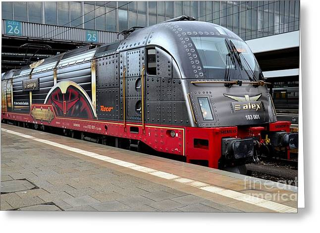 Wire Handle Greeting Cards - German electric train Munich Germany Greeting Card by Imran Ahmed