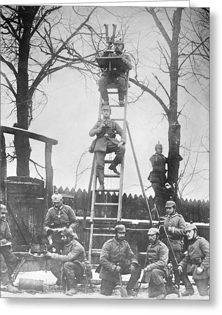 German Field Observers Greeting Card by Library Of Congress