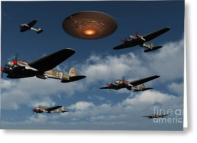 Military Airplanes Greeting Cards - German Heinkel Bombers Being Buzzed Greeting Card by Mark Stevenson