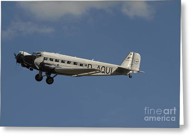 Ju 52 Greeting Cards - German Junkers Ju 52 Flying Greeting Card by Phil Wallick