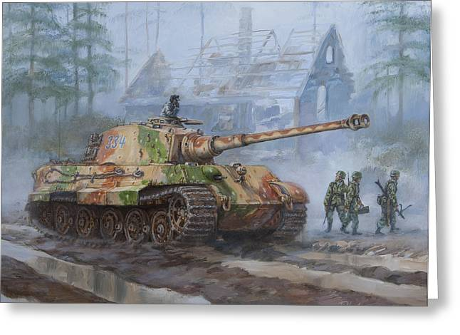 Division Greeting Cards - German King Tiger tank in the Battle of the Bulge Greeting Card by Philip Arena