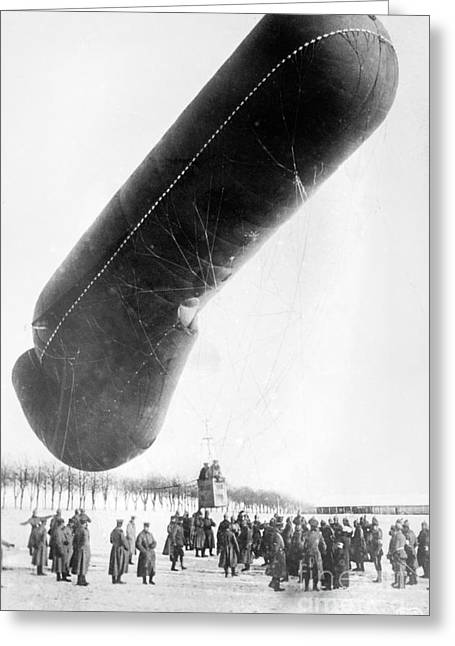 Western Front Greeting Cards - German Observation Balloon, World War I Greeting Card by Library Of Congress