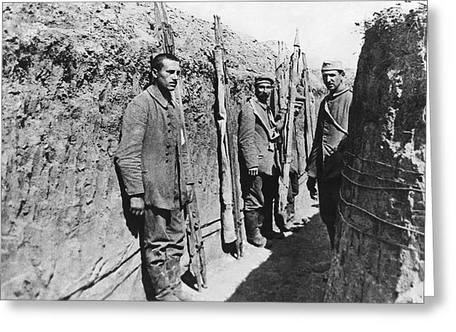 Trench Warfare Greeting Cards - German POWs With Stretchers Greeting Card by Underwood Archives