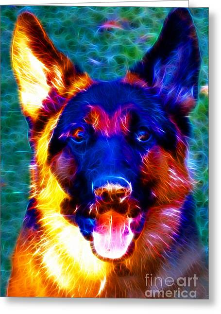 German Shepard Dogs Greeting Cards - German Shepard - Electric Greeting Card by Wingsdomain Art and Photography