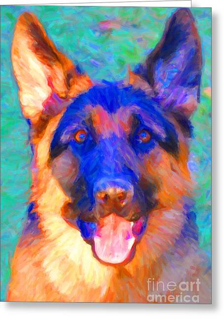 German Shepard Dogs Greeting Cards - German Shepard - Painterly Greeting Card by Wingsdomain Art and Photography