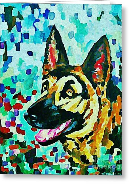 Johnmaloneartist.com Greeting Cards - German Shepard Watercolor Greeting Card by Halifax artist John Malone
