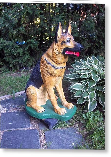 Police Sculptures Greeting Cards - German Sheperd Dog Greeting Card by Gordon Wendling