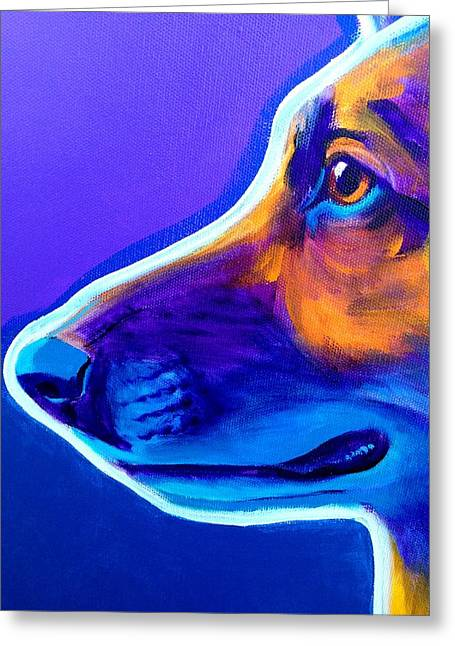 Dog Close-up Paintings Greeting Cards - German Shepherd - Face Greeting Card by Alicia VanNoy Call