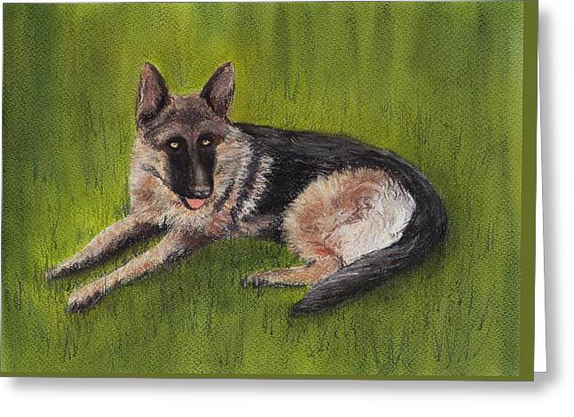 Wolf Pastels Greeting Cards - German Shepherd Greeting Card by Anastasiya Malakhova