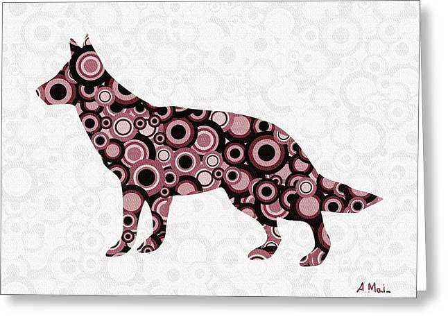German Shepherd - Animal Art Greeting Card by Anastasiya Malakhova