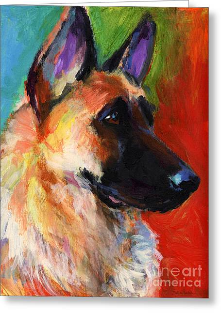 Impressionistic Dog Art Greeting Cards - German Shepherd Dog portrait Greeting Card by Svetlana Novikova