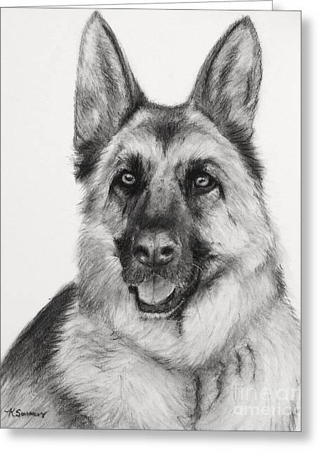 Working Dog Drawings Greeting Cards - German Shepherd Drawn in Charcoal Greeting Card by Kate Sumners