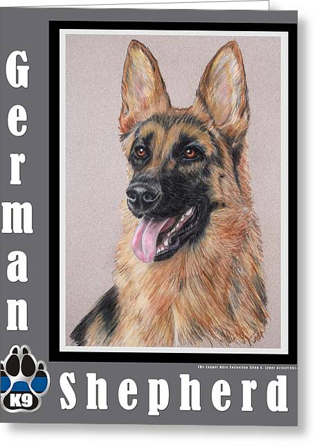 Guard Dog Pastels Greeting Cards - German Shepherd Greeting Card by Ellen Lyner
