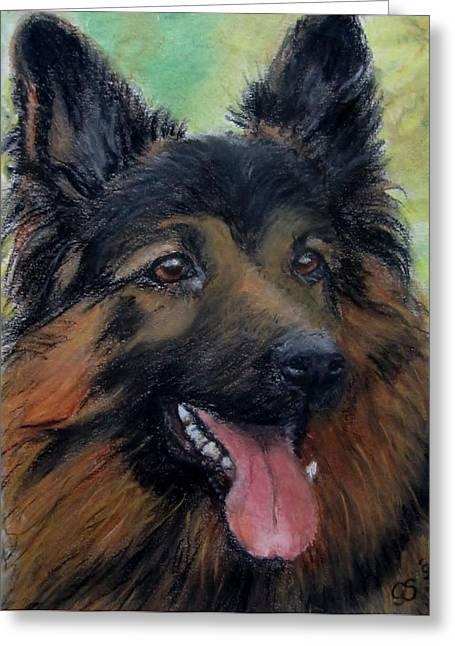 Guard Dog Pastels Greeting Cards - German Shepherd Greeting Card by Gea Scheltinga