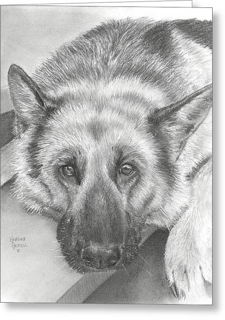 Puppies Pastels Greeting Cards - German Shepherd Greeting Card by Heather Gessell