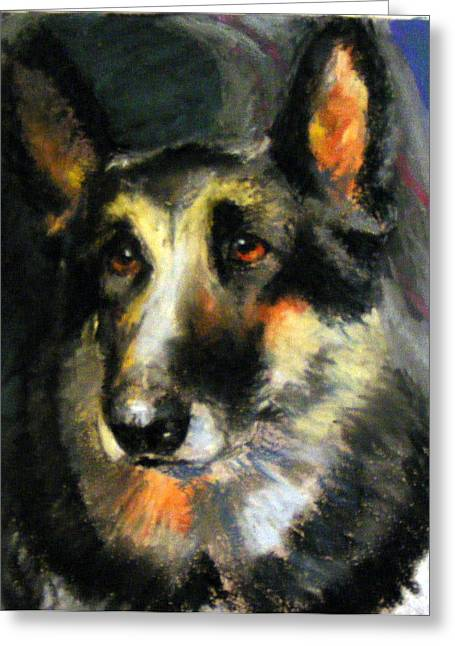 Guard Dog Pastels Greeting Cards - German Shepherd Greeting Card by Lenore Gaudet