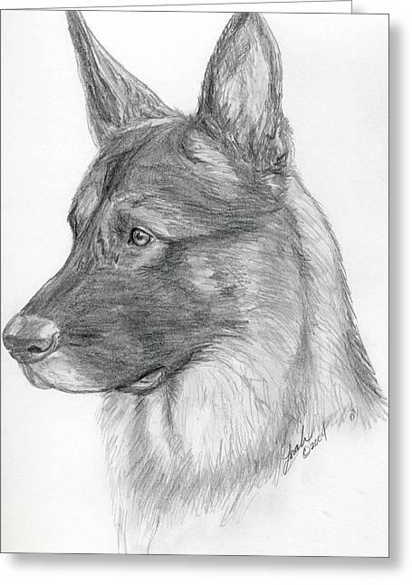 Police Art Drawings Greeting Cards - German Shepherd Greeting Card by Lorah Buchanan