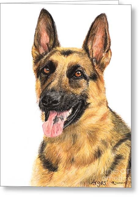 German Shepherd Painting Portrait  Greeting Card by Kate Sumners
