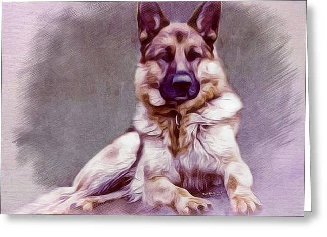 Working Dog Digital Greeting Cards - German Shepherd Portrait Greeting Card by Scott Wallace