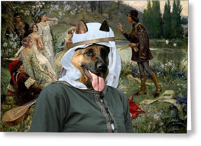 Dog Prints Greeting Cards - German Shepherds Canvas Print - Scene of the Narration of the Decameron Greeting Card by Sandra Sij
