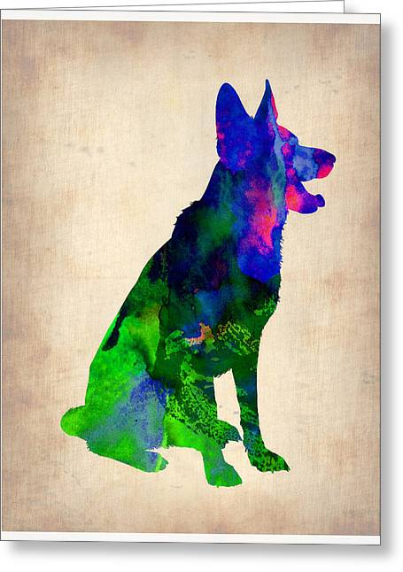 Puppies Paintings Greeting Cards - German Sheppard Watercolor Greeting Card by Naxart Studio