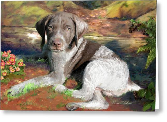 Working Dogs Paintings Greeting Cards - German Shorthair Dog Painting Greeting Card by Enzie Shahmiri