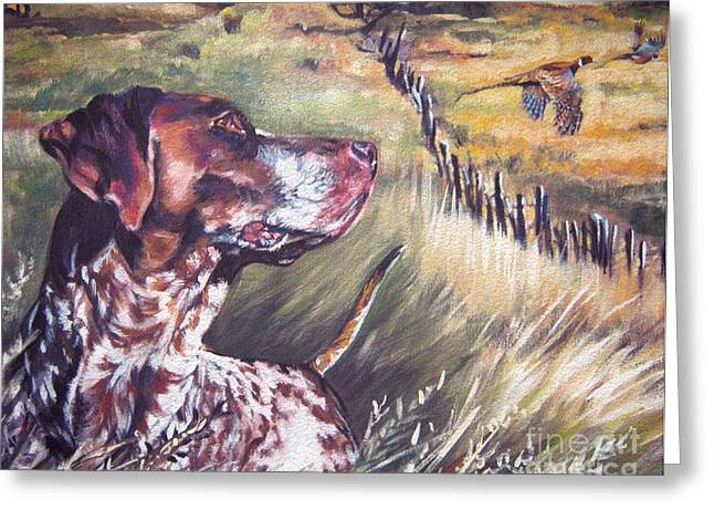 German Shepard Dogs Greeting Cards - German Shorthaired Pointer and Pheasants Greeting Card by L A Shepard