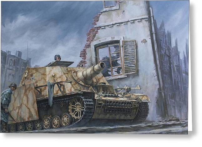The Tiger Greeting Cards - German Sturmpanzer in Cisterna Italy 1944 Greeting Card by Philip Arena