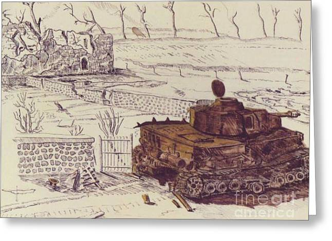 Bare Trees Drawings Greeting Cards - German tank at Le Mesnil Greeting Card by David Neace