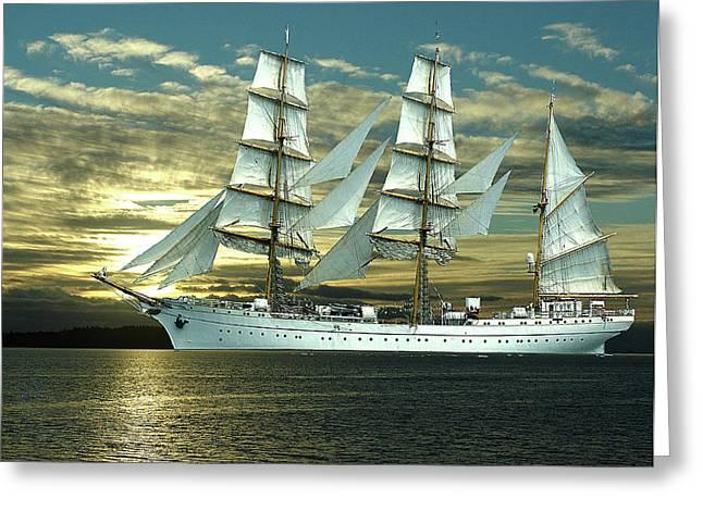 George Cousins Greeting Cards - German Training Ship Gorch Foch Greeting Card by George Cousins