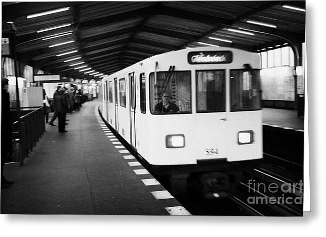 Berlin Germany Greeting Cards - german u-bahn underground train travels through overground station Berlin Germany Greeting Card by Joe Fox