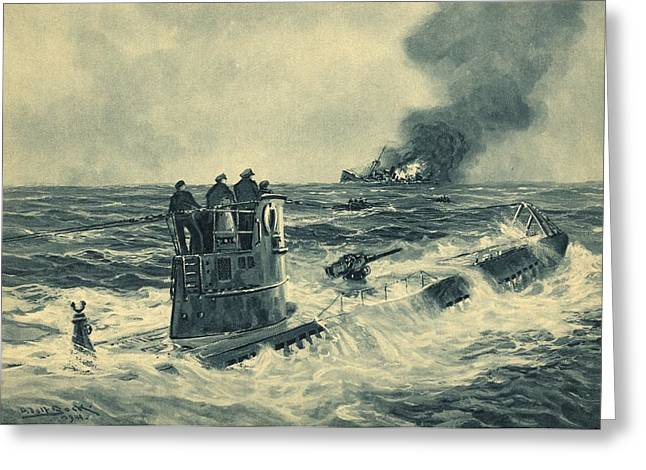 Survivor Art Greeting Cards - German U-boat attack, World War II Greeting Card by Science Photo Library