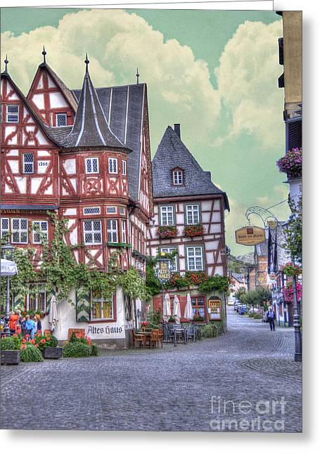 Recently Sold -  - Old Street Greeting Cards - German Village along Rhine River Greeting Card by Juli Scalzi
