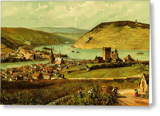 Wine Country. Drawings Greeting Cards - German Wine country Rhine River Valley Greeting Card by Private Collection