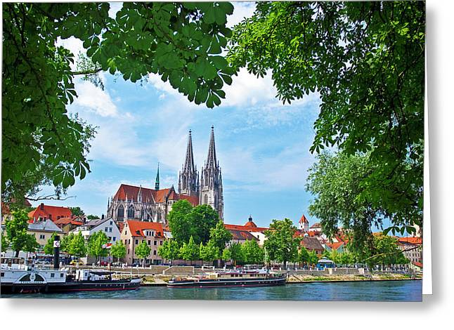 Germany , Regensburg, Old Town Skyline Greeting Card by Miva Stock
