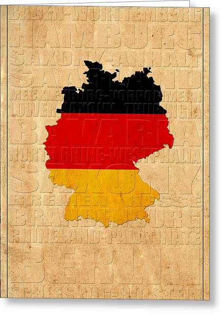 Map Of Germany Greeting Cards - Germany Greeting Card by Andrew Fare