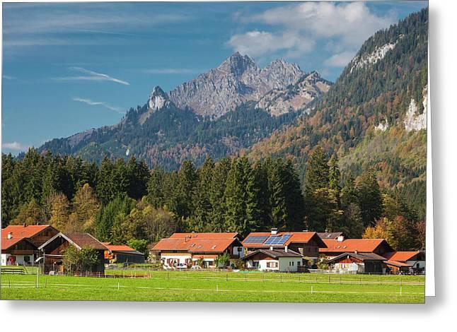 Germany, Bavaria, Graswang, Town Greeting Card by Walter Bibikow