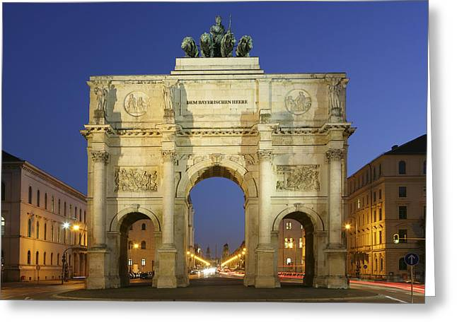 Old Roadway Greeting Cards - Germany Bavaria Munich Siegestor Greeting Card by Tips Images