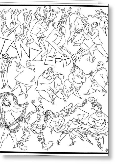 Fad Greeting Cards - Germany: Dance Epidemic Greeting Card by Granger