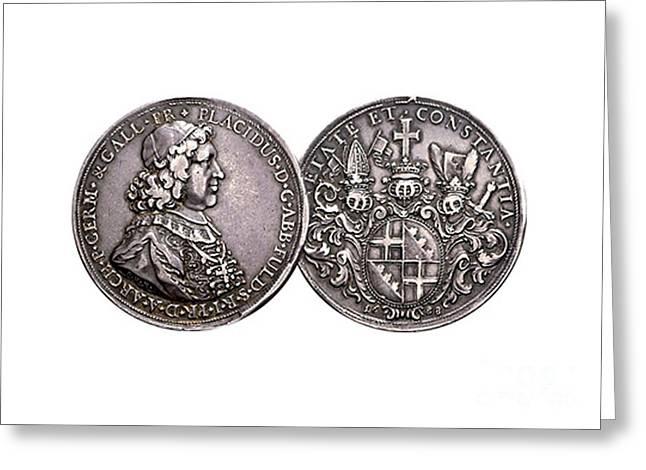 Taler Greeting Cards - Germany Fulda Taler 1678 to 1700 Greeting Card by Manik