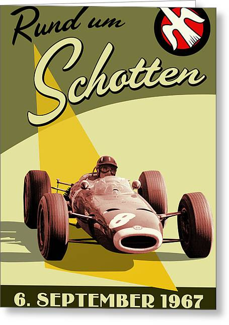 Label Greeting Cards - Germany Grand Prix F1 1967 Greeting Card by Nomad Art And  Design