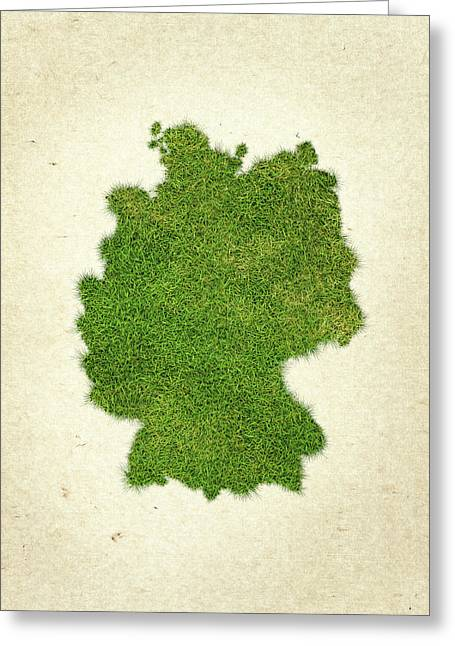 Planet Map Mixed Media Greeting Cards - Germany Grass Map Greeting Card by Aged Pixel