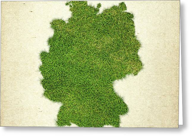 Germany Grass Map Greeting Card by Aged Pixel