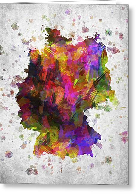 German Map Greeting Cards - Germany in Color Greeting Card by Aged Pixel