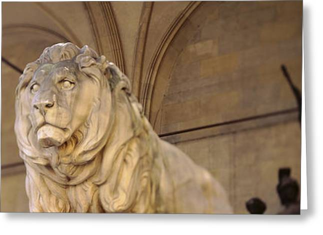 Lions Greeting Cards - Germany, Munich, Lion Sculpture Greeting Card by Panoramic Images