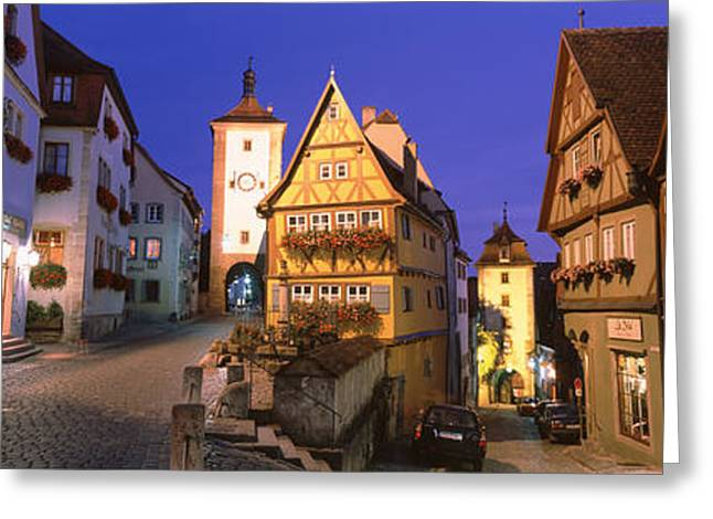 Night Lamp Greeting Cards - Germany, Rothenburg Ob Der Tauber Greeting Card by Panoramic Images