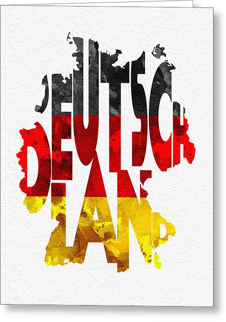 German Map Greeting Cards - Germany Typographic Map Flag Greeting Card by Ayse Deniz