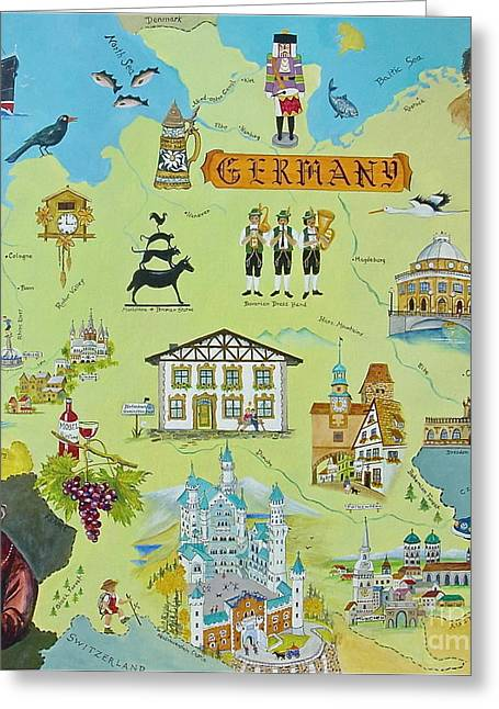 Map Of Germany Greeting Cards - Germany Greeting Card by Virginia Ann Hemingson